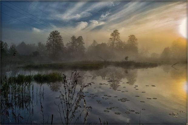 Mgła #d3100 #drzewa #gwda #las #mgła #motylewo #niebo #nikon #poranek #rzeka #świt #wieś #woda
