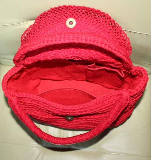 wnętrze torebki #torebka #szydełko #zpagetti