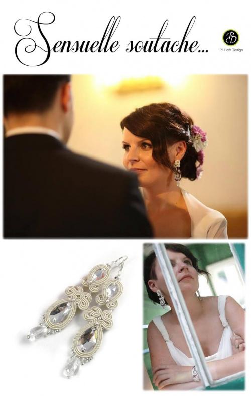 Długie fioletowe kolczyki ślubne sutasz