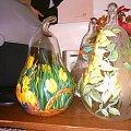 Gruszki szklane-malowane #akryl #brokat #szkło